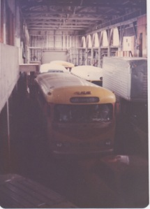 Interior of Hunter's point warehouse- busses belonged to Richard, Lester and Peter